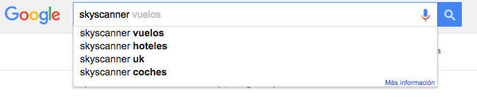 Google instant da ideas de palabras clave sobre Skyscanner