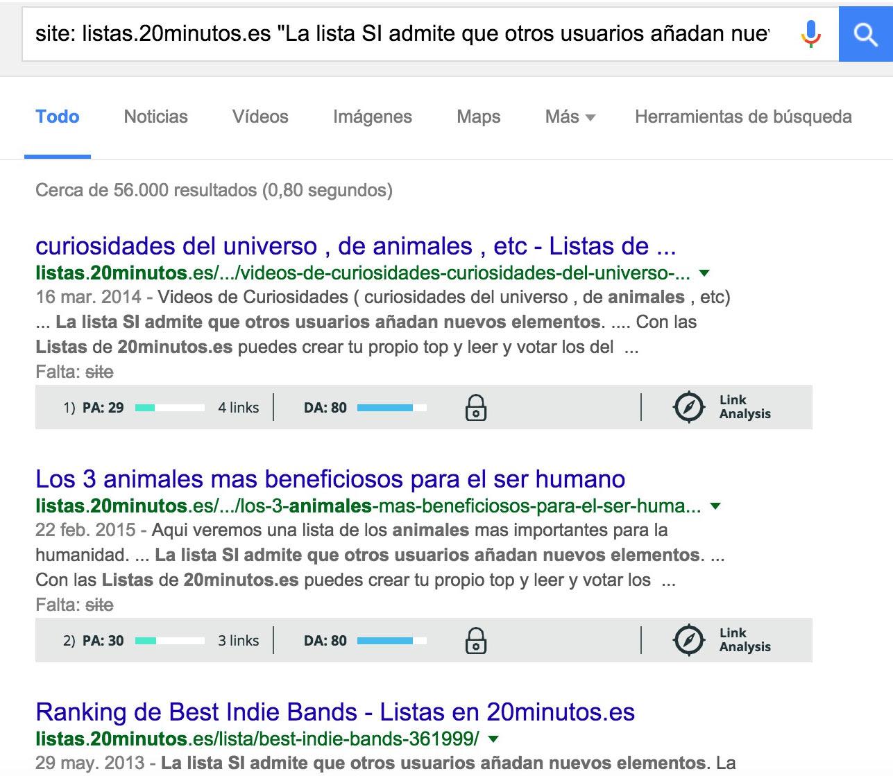 comandos de Google lista