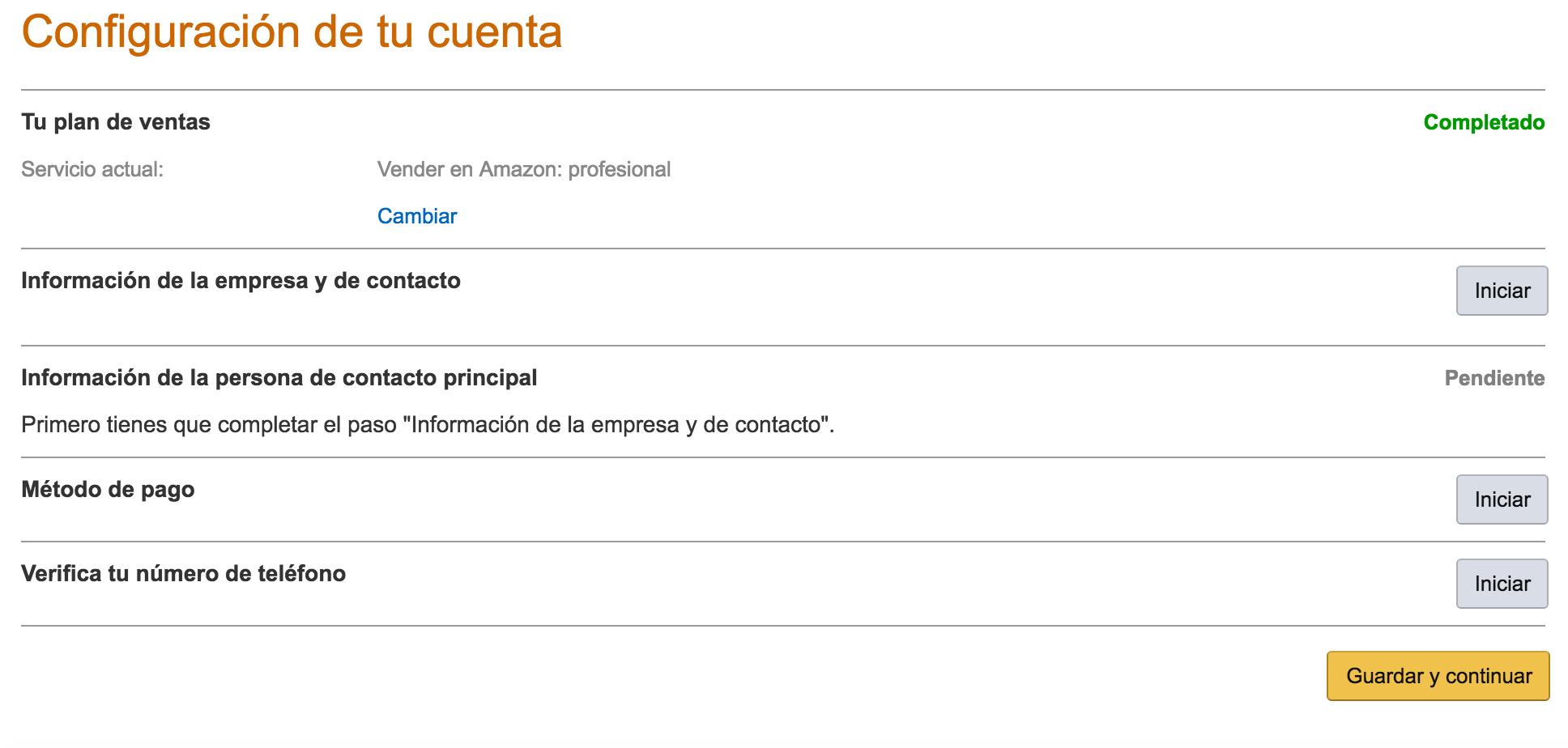 Configuración de tu cuenta de Amazon