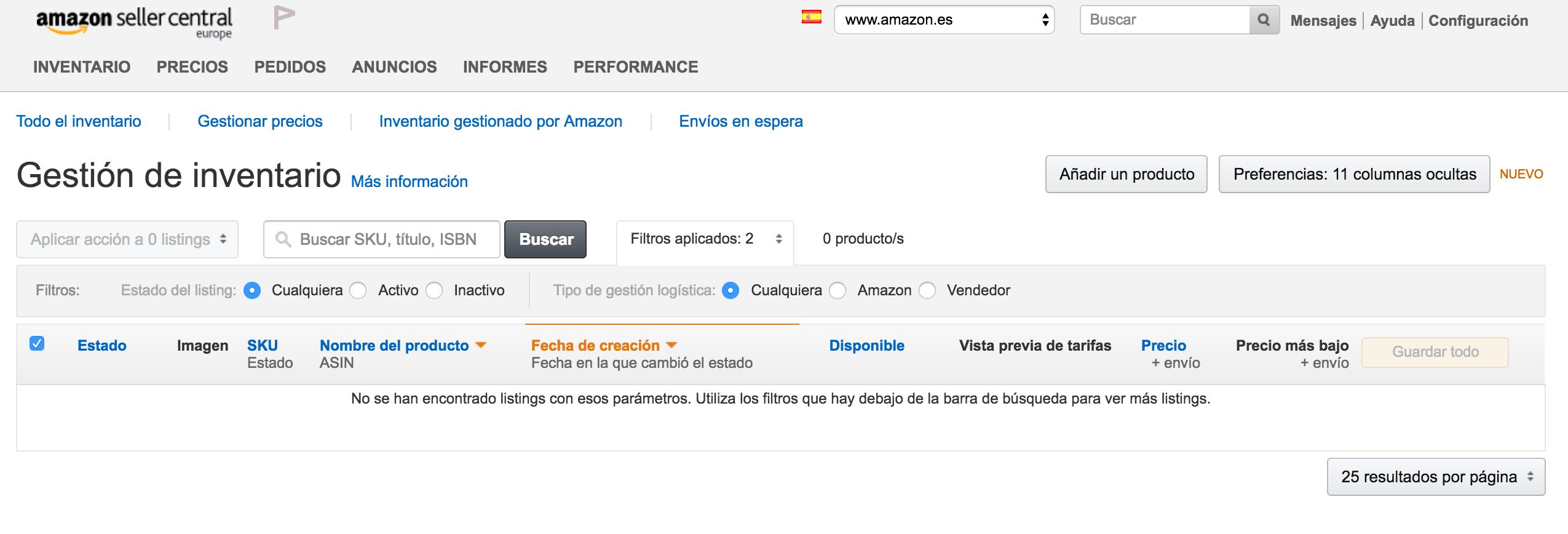 Inventario en Amazon
