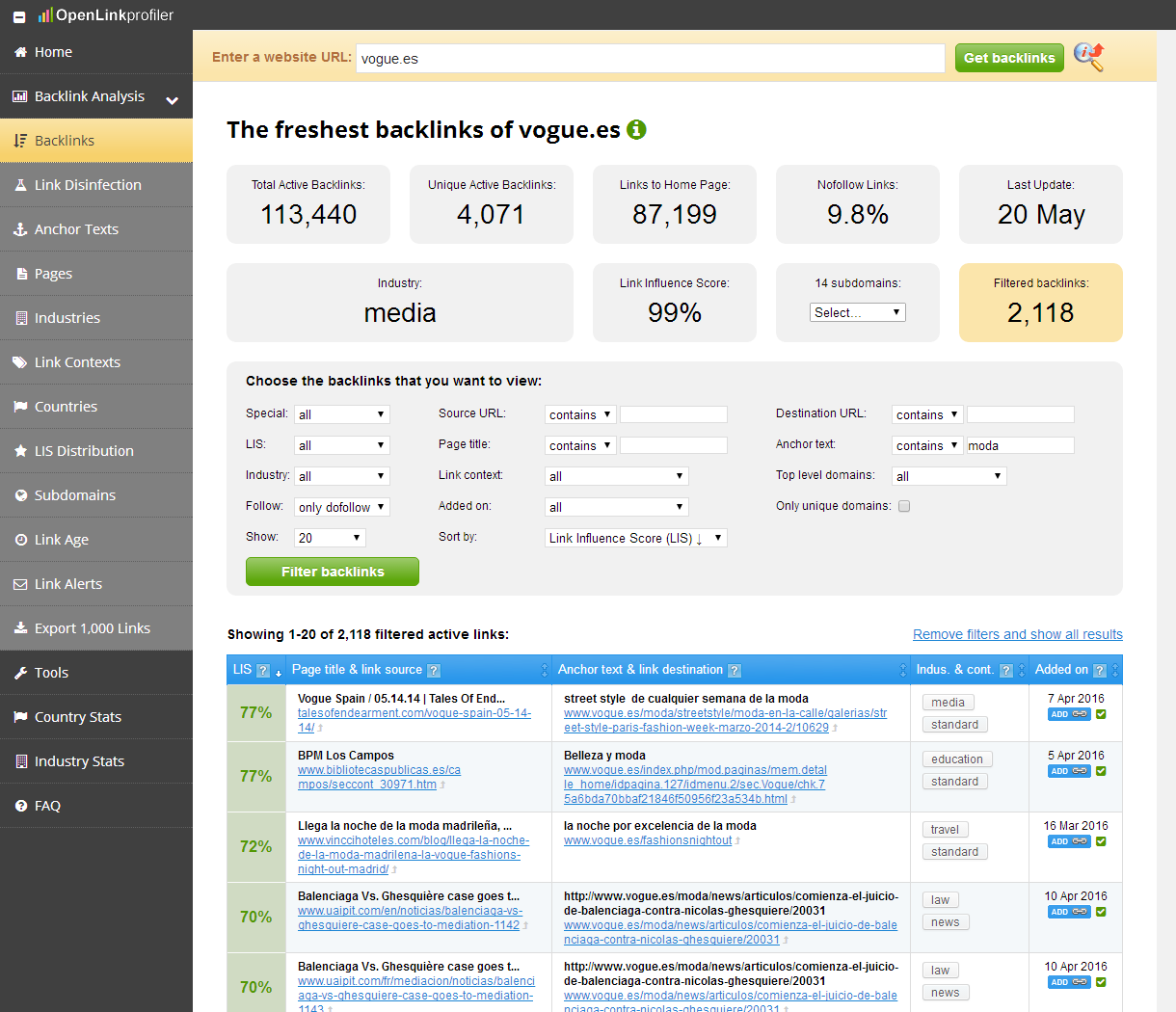 Resultados de backlinks